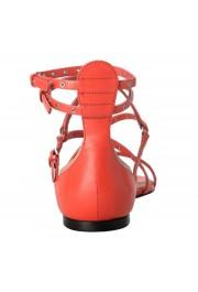 Valentino Garavani Women's Leather Orange Strappy Flat Sandals Shoes: Picture 3