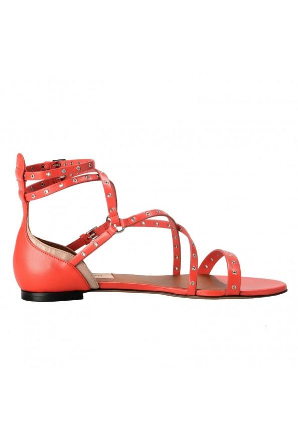 Valentino Garavani Women's Leather Orange Strappy Flat Sandals Shoes: Picture 4