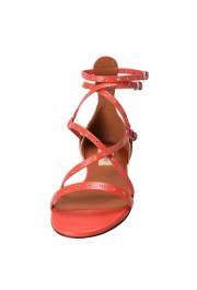 Valentino Garavani Women's Leather Orange Strappy Flat Sandals Shoes: Picture 5