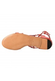 Valentino Garavani Women's Leather Orange Strappy Flat Sandals Shoes: Picture 6