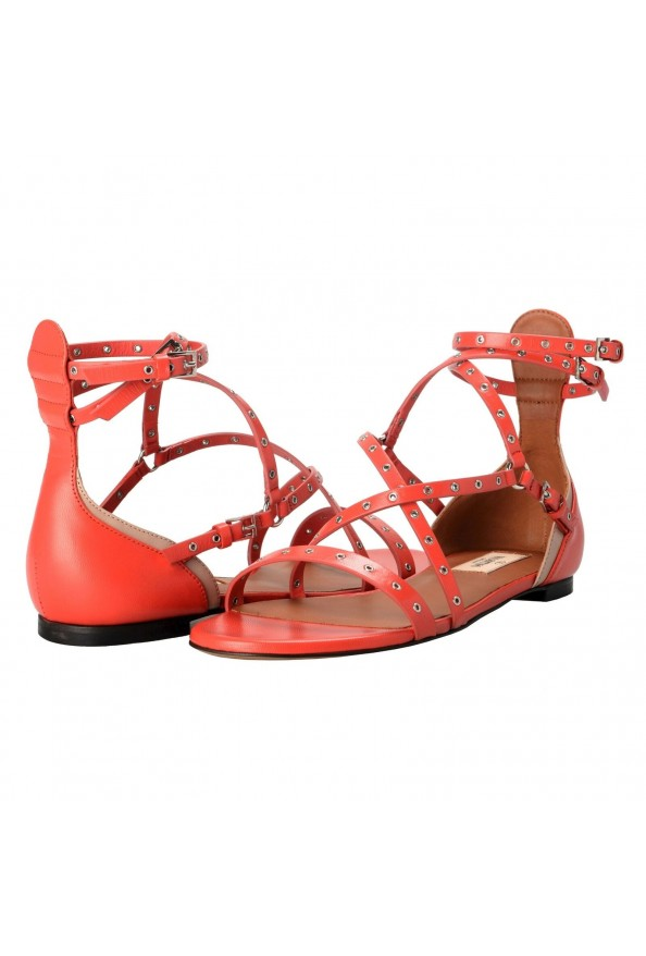 Valentino Garavani Women's Leather Orange Strappy Flat Sandals Shoes: Picture 7
