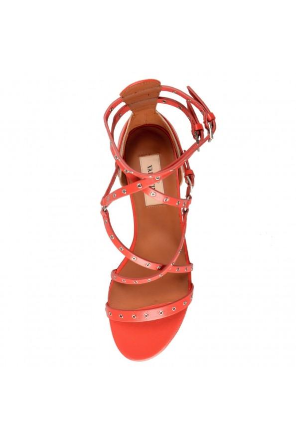 Valentino Garavani Women's Leather Orange Strappy Flat Sandals Shoes: Picture 8