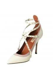 Valentino Garavani Women's Leather White Ankle Strap Pumps Shoes