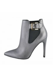 Just Cavalli Women's Gray Leather High Heel Ankle Boots Shoes: Picture 2