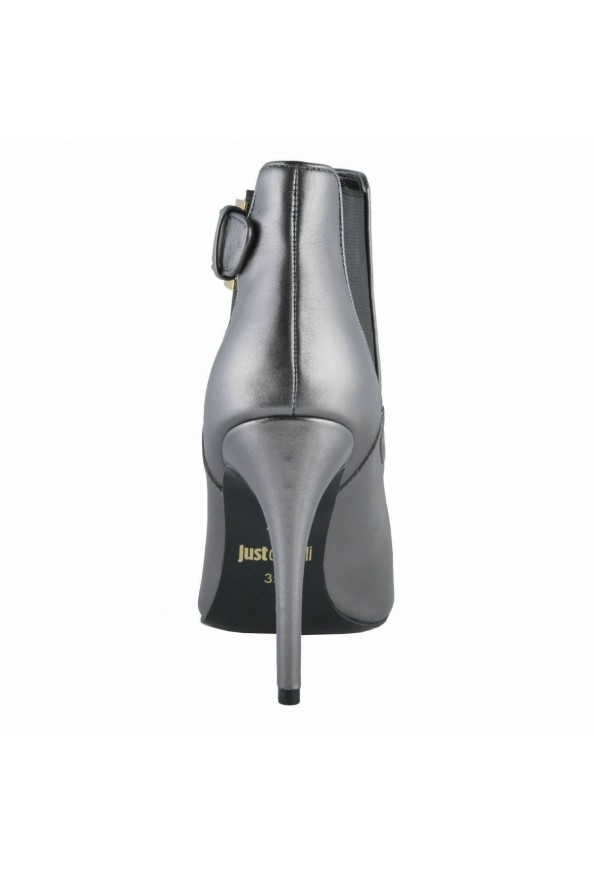Just Cavalli Women's Gray Leather High Heel Ankle Boots Shoes: Picture 3