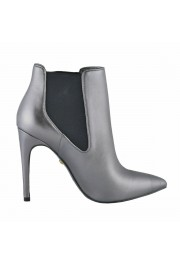 Just Cavalli Women's Gray Leather High Heel Ankle Boots Shoes: Picture 4