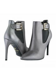 Just Cavalli Women's Gray Leather High Heel Ankle Boots Shoes: Picture 8