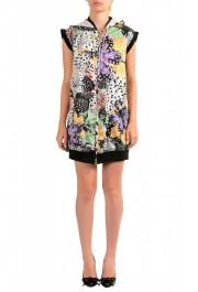 Just Cavalli Women's Multi-Color Hooded Zip Up Sleeveless Dress