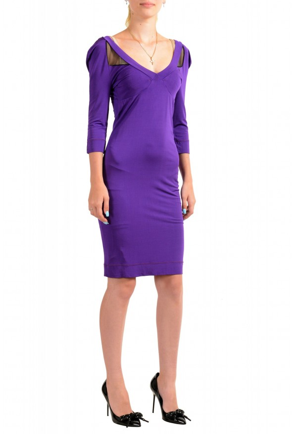 Just Cavalli Women's Purple Deep V-Neck 3/4 Sleeve Bodycon Dress: Picture 2