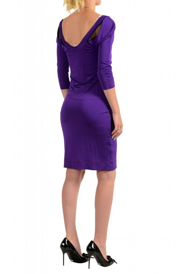 Just Cavalli Women's Purple Deep V-Neck 3/4 Sleeve Bodycon Dress: Picture 3