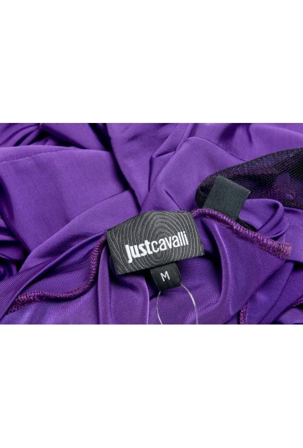 Just Cavalli Women's Purple Deep V-Neck 3/4 Sleeve Bodycon Dress: Picture 5