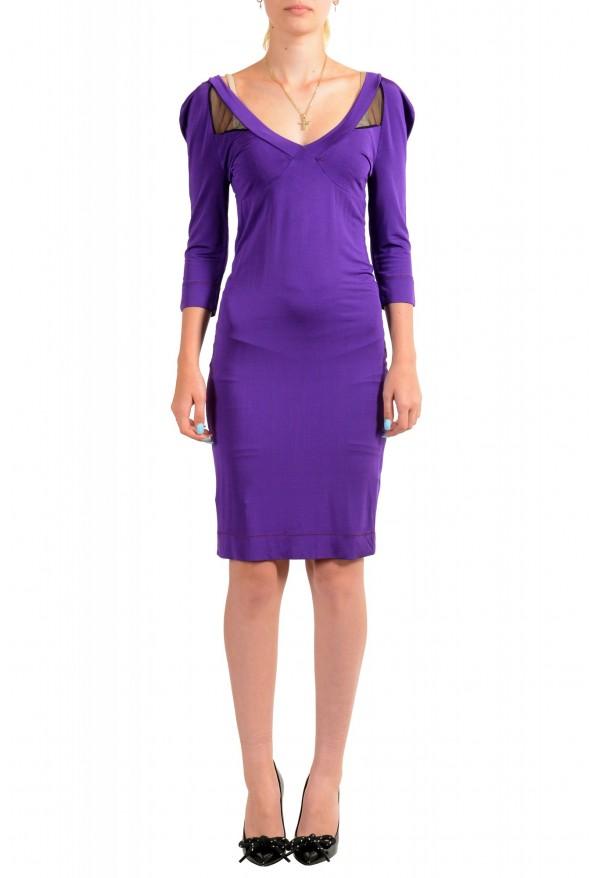 Just Cavalli Women's Purple Deep V-Neck 3/4 Sleeve Bodycon Dress