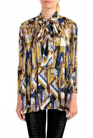 Just Cavalli Women's Multi-Color Bow Decorated Blouse Top