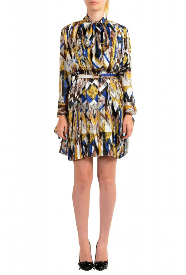 Just Cavalli Women's Multi-Color Pleated Belted Dress