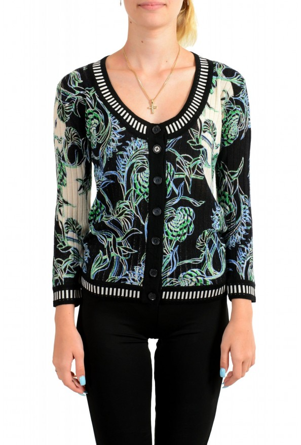Just Cavalli Women's Multi-Color Floral Print Wool Cardigan Sweater