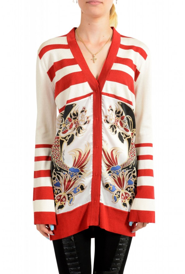Just Cavalli Women's Multi-Color Floral Print Cardigan Sweater