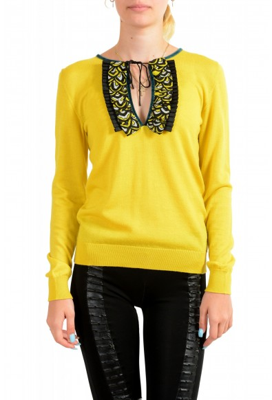 Just Cavalli Women's Yellow Wool Silk Cashmere Pullover Sweater