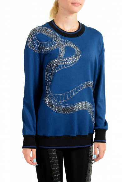 Just Cavalli Women's Blue Embellished Pullover Sweatshirt Sweater: Picture 2