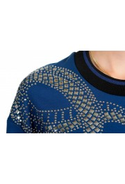 Just Cavalli Women's Blue Embellished Pullover Sweatshirt Sweater: Picture 4