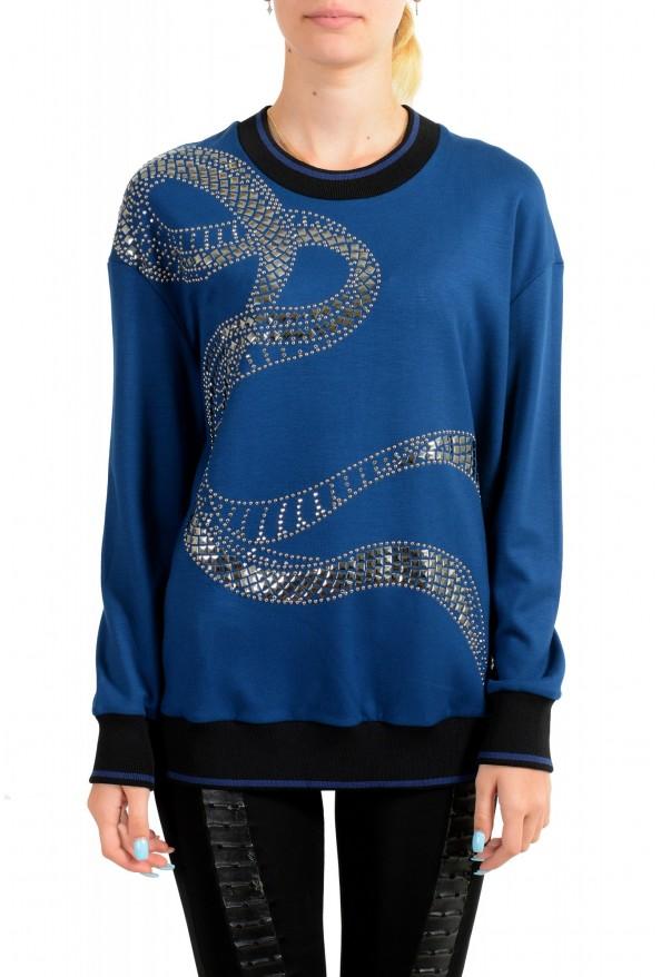 Just Cavalli Women's Blue Embellished Pullover Sweatshirt Sweater