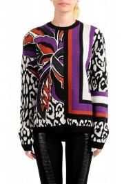 Just Cavalli Women's Multi-Color 100% Wool Crewneck Pullover Sweater