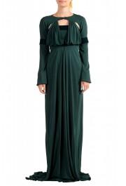 Just Cavalli Women's Emerald Green Long Sleeve Evening Dress