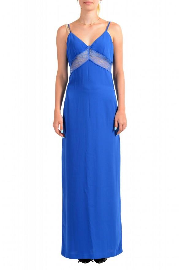 Maison Margiela Women's Bright Blue Lace Trimmed Evening Dress