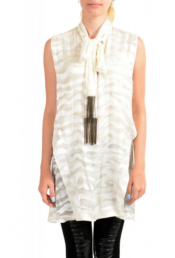 Just Cavalli Women's Ivory Silk Sleeveless Blouse Top