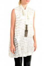 Just Cavalli Women's Ivory Silk Sleeveless Blouse Top: Picture 2