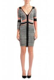 Just Cavalli Multi-Color 3/4 Sleeve Women's Stretch Bodycon Dress