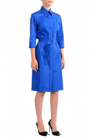 "Hugo Boss Women's ""Dashina2"" Blue 3/4 Sleeve Midi Belted Dress: Picture 2"