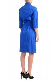 "Hugo Boss Women's ""Dashina2"" Blue 3/4 Sleeve Midi Belted Dress: Picture 3"