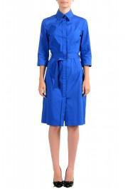 "Hugo Boss Women's ""Dashina2"" Blue 3/4 Sleeve Midi Belted Dress"