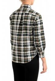 Dsquared2 Women's Plaid Multi-Color 3/4 Sleeve Button Down Shirt Top: Picture 3