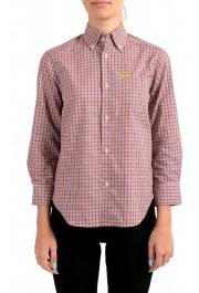Dsquared2 Women's Plaid Multi-Color 3/4 Sleeve Button Down Shirt Top