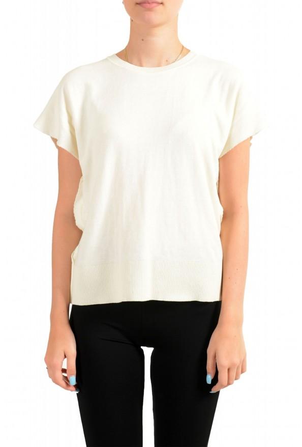 Maison Margiela Mm6 Women's Ivory Asymmetrical Knitted Top