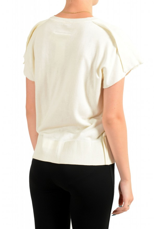 Maison Margiela Mm6 Women's Ivory Asymmetrical Knitted Top : Picture 3