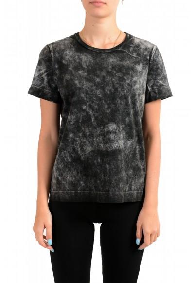 Just Cavalli Women's Acid Wash Crewneck Blouse T-Shirt Top