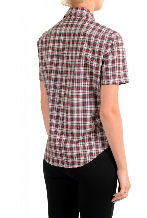Dsquared2 Women's Plaid Sparkle Short Sleeve Button Down Shirt: Picture 3