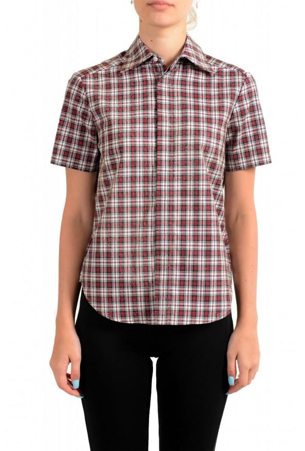 Dsquared2 Women's Plaid Sparkle Short Sleeve Button Down Shirt