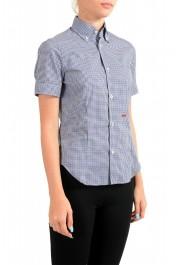 Dsquared2 Women's Plaid Blue Short Sleeve Button Down Shirt: Picture 2
