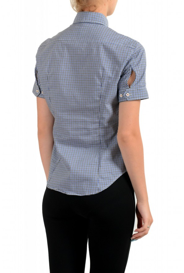 Dsquared2 Women's Plaid Blue Short Sleeve Button Down Shirt: Picture 3