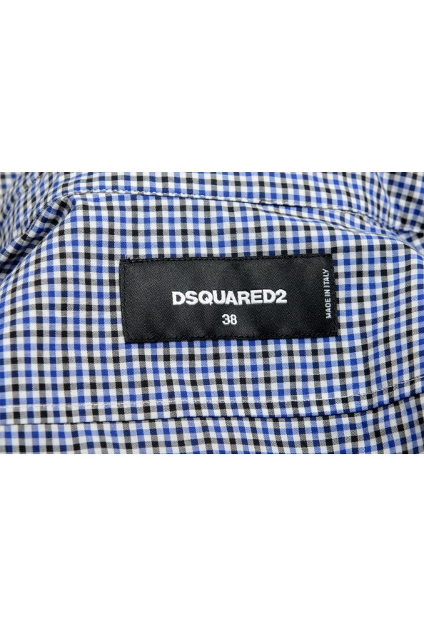 Dsquared2 Women's Plaid Blue Short Sleeve Button Down Shirt: Picture 6