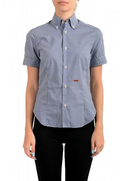 Dsquared2 Women's Plaid Blue Short Sleeve Button Down Shirt