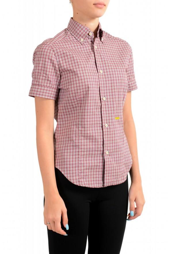 Dsquared2 Women's Plaid Multi-Color Short Sleeve Button Down Shirt: Picture 2