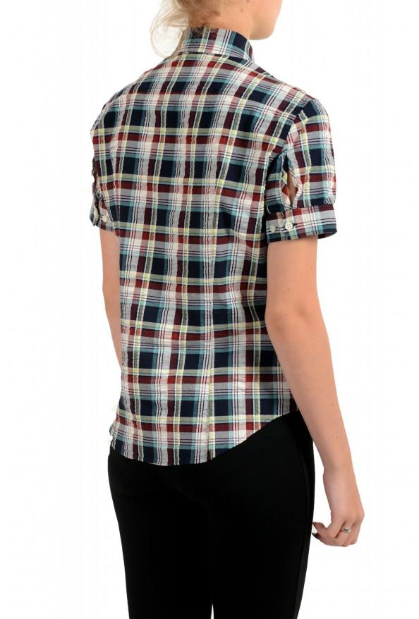 Dsquared2 Women's Plaid Multi-Color Short Sleeve Button Down Shirt: Picture 3