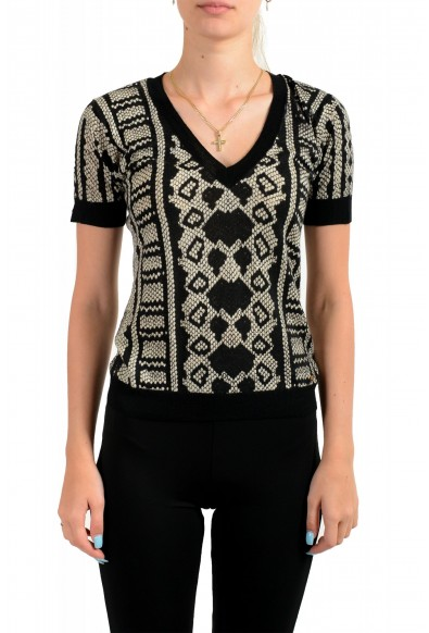 Just Cavalli Women's Multi-Color Wool Cashmere Short Sleeve Sweater