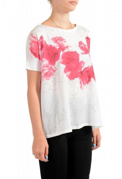 Moncler Women's Multi-Color Floral Print Cropped T-Shirt Top: Picture 2