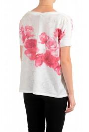 Moncler Women's Multi-Color Floral Print Cropped T-Shirt Top: Picture 3