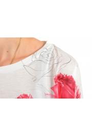 Moncler Women's Multi-Color Floral Print Cropped T-Shirt Top: Picture 4